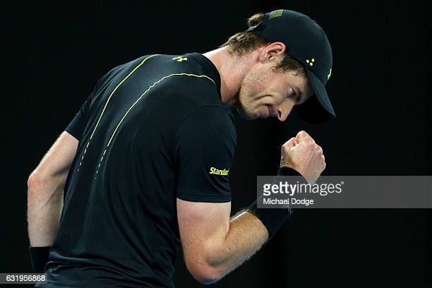 Andy Murray of Great Britain celebrates in his second round match against Andrey Rublev of Russia on day three of the 2017 Australian Open at...