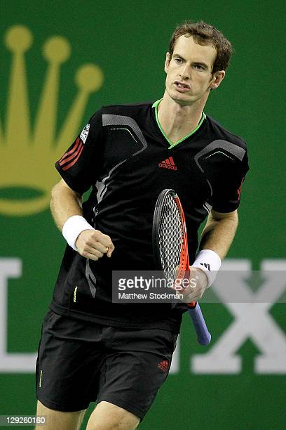 Andy Murray of Great Britain celebrates match point against Kei Mishikori of Japan during the semifinals of the Shanghai Rolex Masters at the Qi...