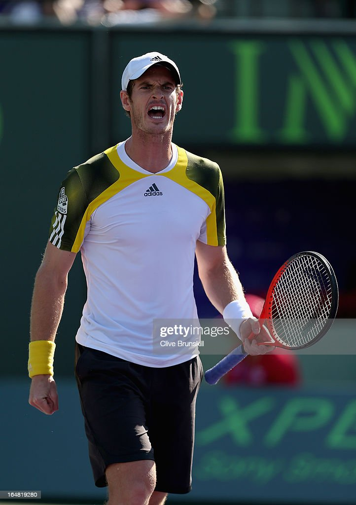 Andy Murray of Great Britain celebrates match point against Marin Cilic of Croatia during their quarter final match at the Sony Open at Crandon Park Tennis Center on March 28, 2013 in Key Biscayne, Florida.