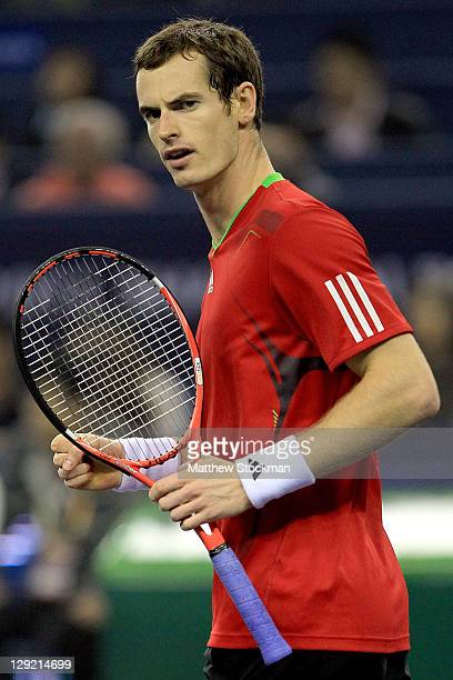 Andy Murray of Great Britain celebrates match point against Matthew Ebden of Australia during the Shanghai Rolex Masters at the Qi Zhong Tennis...