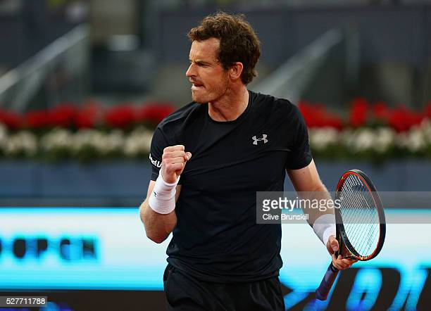 Andy Murray of Great Britain celebrates match point against Radek Stepanek of the Czech Republic in their second round match during day four of the...
