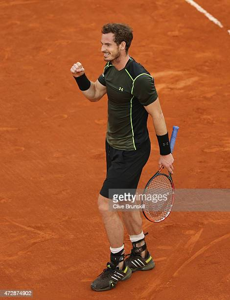 Andy Murray of Great Britain celebrates match point against Rafael Nadal of Spain in the mens final during day nine of the Mutua Madrid Open tennis...