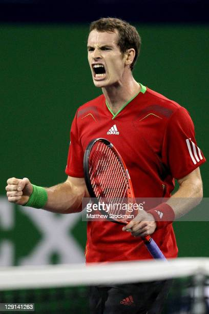 Andy Murray of Great Britain celebrates match point against Stanislas Wawrinka of Switzlerland during the Shanghai Rolex Masters at the Qi Zhong...