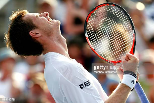 Andy Murray of Great Britain celebrates match point against Jo-Wilfried Tsonga of France during the semifinals of the Rogers Cup at Uniprix Stadium...