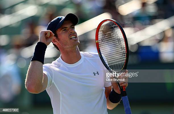 Andy Murray of Great Britain celebrates match point and his 500th ATP Tour victory against Kevin Anderson of South Africa in their fourth round match...