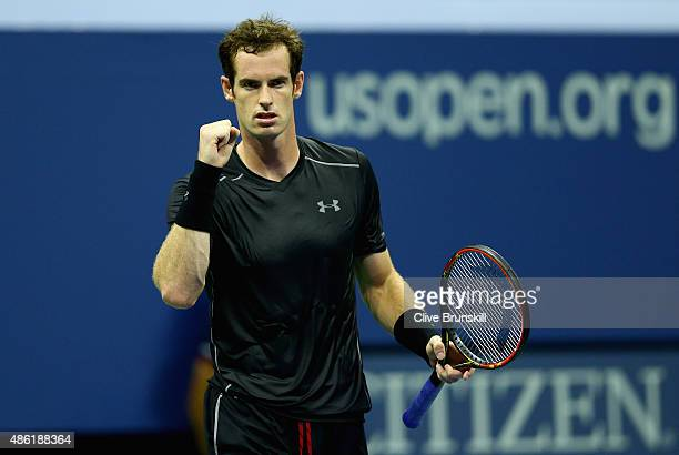 Andy Murray of Great Britain celebrates match point during his first round match against Nick Kyrgios of Australia on Day Two of the 2015 US Open at...