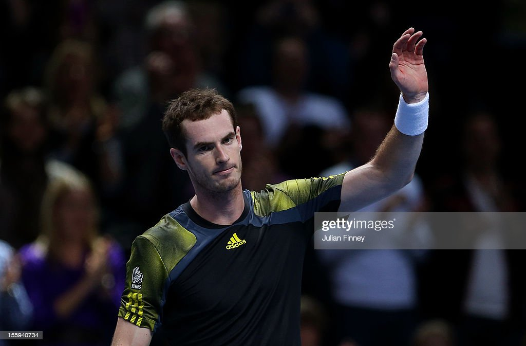 Andy Murray of Great Britain celebrates match point during his men's singles match against Jo-Wilfried Tsonga of France on day five of the ATP World Tour Finals at O2 Arena on November 9, 2012 in London, England.