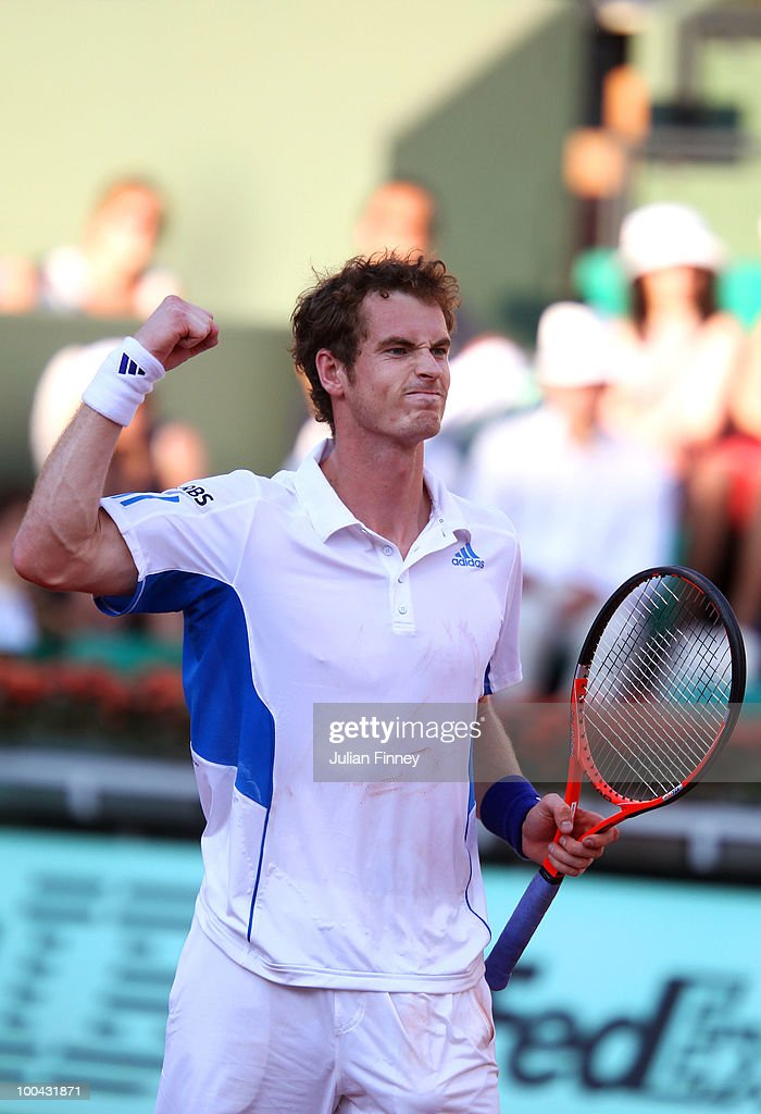 Andy Murray of Great Britain celebrates match point during the men's singles first round match between Andy Murray of Great Britain and Richard Gasquet of France on day two of the French Open at Roland Garros on May 24, 2010 in Paris, France.