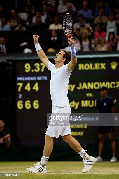 Andy Murray of Great Britain celebrates match point during the Gentlemen's Singles semifinal match against Jerzy Janowicz of Poland on day eleven of...