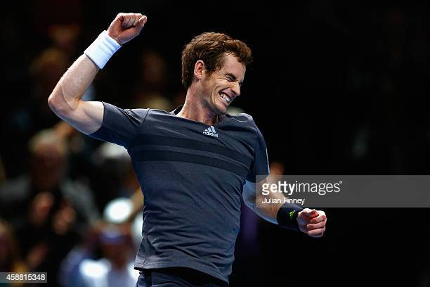 Andy Murray of Great Britain celebrates match point in the round robin singles match against Milos Raonic of Canada on day three of the Barclays ATP...