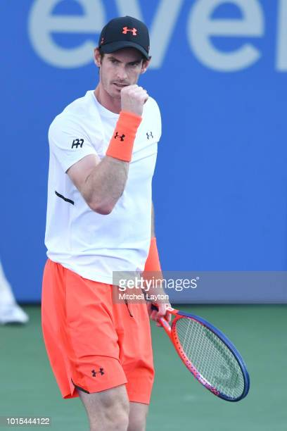 Andy Murray of Great Britain celebrates scoring a point against Kyle Edmund of Great Britain during Day Six of the Citi Open at the Rock Creek Tennis...