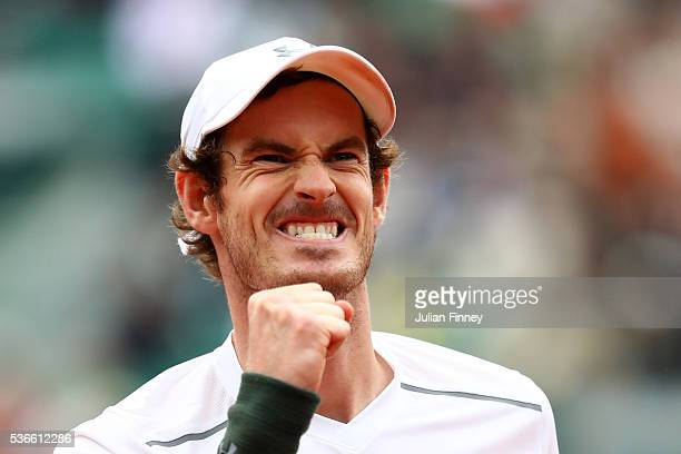Andy Murray of Great Britain celebrates victory during the Men's Singles quarter final match against Richard Gasquet of France on day eleven of the...