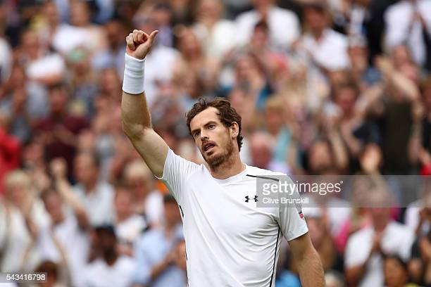 Andy Murray of Great Britain celebrates victory during the Men's Singles first round match against Liam Broady of Great Britain on day two of the...