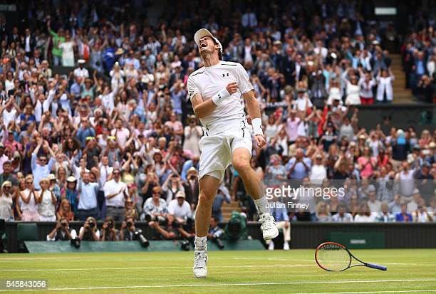 Andy Murray of Great Britain celebrates victory during the Men's Singles Final against Milos Raonic of Canada on day thirteen of the Wimbledon Lawn...