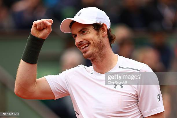 Andy Murray of Great Britain celebrates victory during the Men's Singles semi final match against Stan Wawrinka of Switzerland on day thirteen of the...