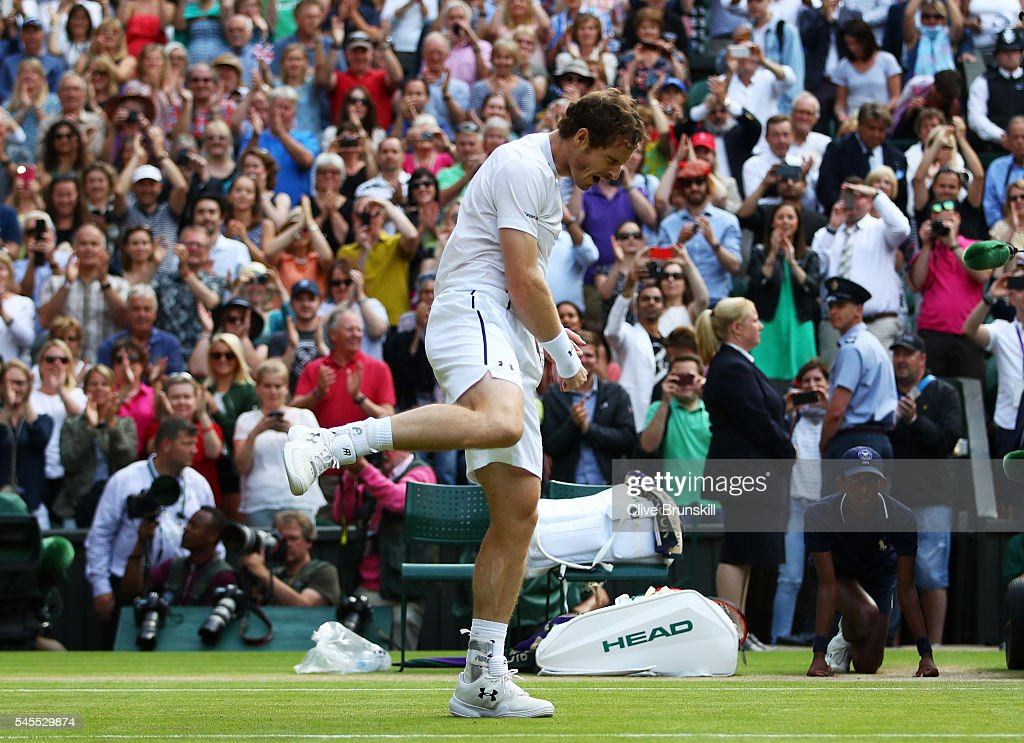 Andy Murray of Great Britain celebrates victory during the Men's Singles Semi Final match against Tomas Berdych of The Czech Republic on day eleven of the Wimbledon Lawn Tennis Championships at the All England Lawn Tennis and Croquet Club on July 8, 2016 in London, England.
