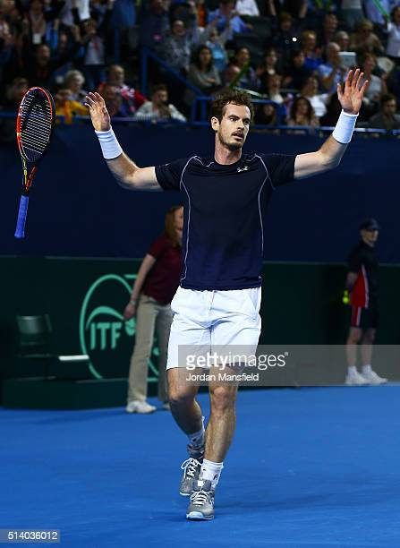 Andy Murray of Great Britain celebrates victory during the singles match against Kei Nishikori of Japan on day three of the Davis Cup World Group...