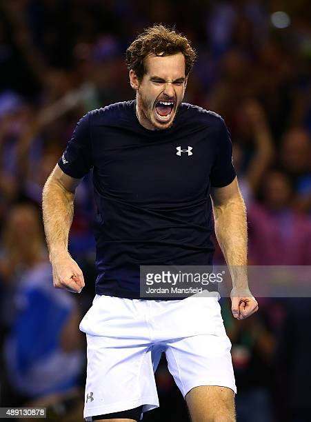 Andy Murray of Great Britain celebrates victory in his Doubles match during Day Two of the Davis Cup Semi Final match between Great Britain and...