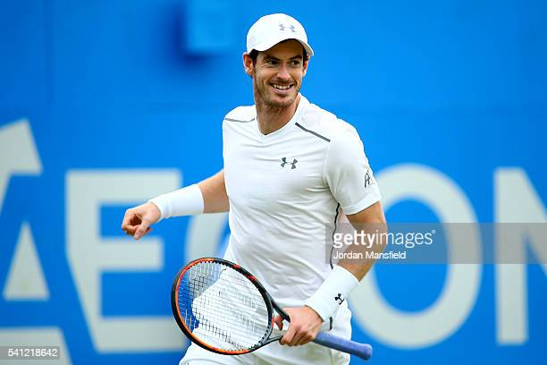 Andy Murray of Great Britain celebrates victory in his final match against Milos Raonic of Canada during day seven of the Aegon Championships at the...