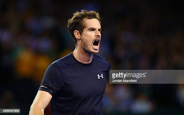 Andy Murray of Great Britain celebrates victory in his match against Thanasi Kokkinakis of Australia during Day One of the Davis Cup Semi Final match...