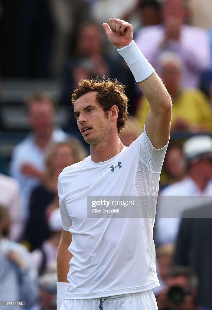 Andy Murray of Great Britain celebrates victory in his men's singles first round match against Yen-Hsun Lu of Chinese Taipei during day two of the Aegon Championships at Queen's Club on June 16, 2015 in London, England.