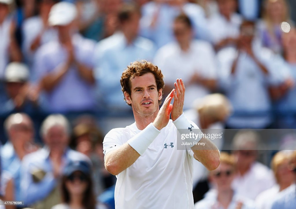 Andy Murray of Great Britain celebrates victory in his men's singles second round match against Fernando Verdasco of Spain during day four of the Aegon Championships at Queen's Club on June 18, 2015 in London, England.