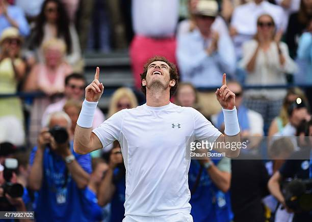 Andy Murray of Great Britain celebrates victory in his men's singles final match against Kevin Anderson of South Africa during day seven of the Aegon...