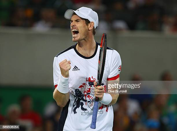Andy Murray of Great Britain celebrates winning a point during the men's singles gold medal match against Juan Martin Del Potro of Argentina on Day 9...