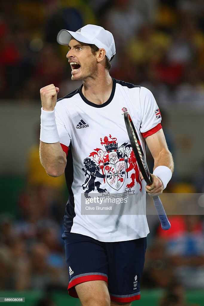 Andy Murray of Great Britain celebrates winning a point during the men's singles gold medal match against Juan Martin Del Potro of Argentina on Day 9 of the Rio 2016 Olympic Games at the Olympic Tennis Centre on August 14, 2016 in Rio de Janeiro, Brazil.