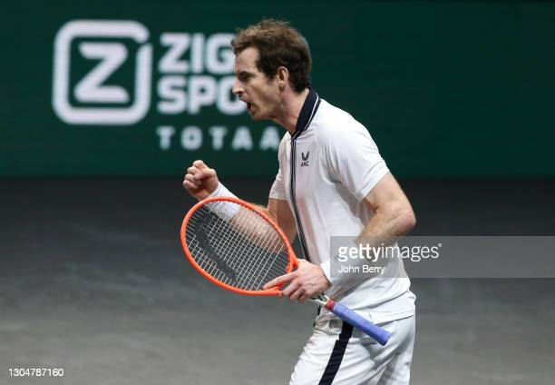Andy Murray of Great Britain celebrates winning his first round match against Robin Haase of Netherlands on day 1 of the 48th ABN AMRO World Tennis...
