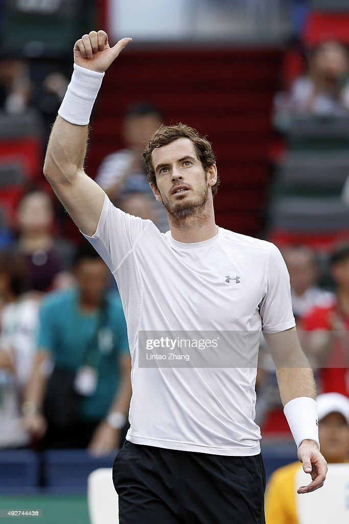 Andy Murray of Great Britain celebrates winning his men's singles third round match against John Isner of the United States on day 5 of Shanghai Rolex Masters at Qi Zhong Tennis Centre on October 15, 2015 in Shanghai, China.