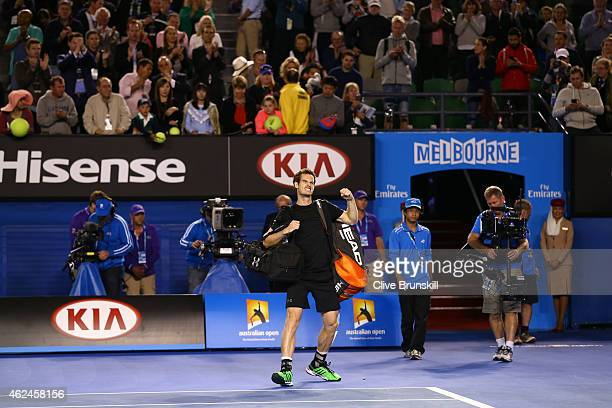 Andy Murray of Great Britain celebrates winning his semifinal match against Tomas Berdych of the Czech Republic during day 11 of the 2015 Australian...