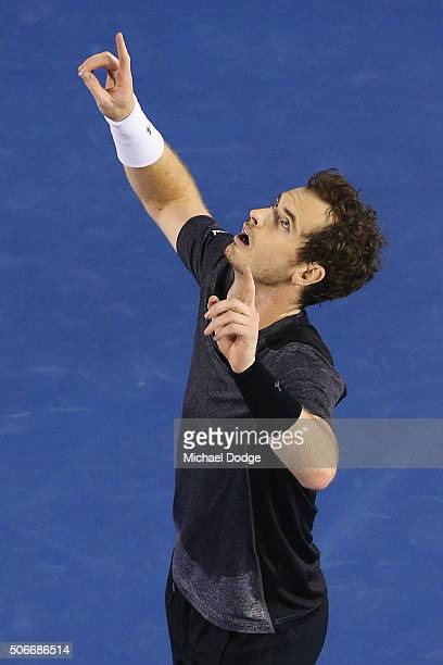 Andy Murray of Great Britain celebrates winning match point in his fourth round match against Bernard Tomic of Australia during day eight of the 2016...