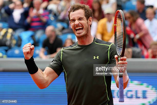Andy Murray of Great Britain celebrates winning the finale match between Andy Murray of Great Britain and Philipp Kohlschreiber of Germany of the BMW...