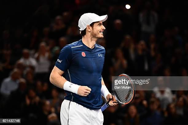 Andy Murray of Great Britain celebrates winning the Mens Singles Final against John Isner of the United States on day seven of the BNP Paribas...