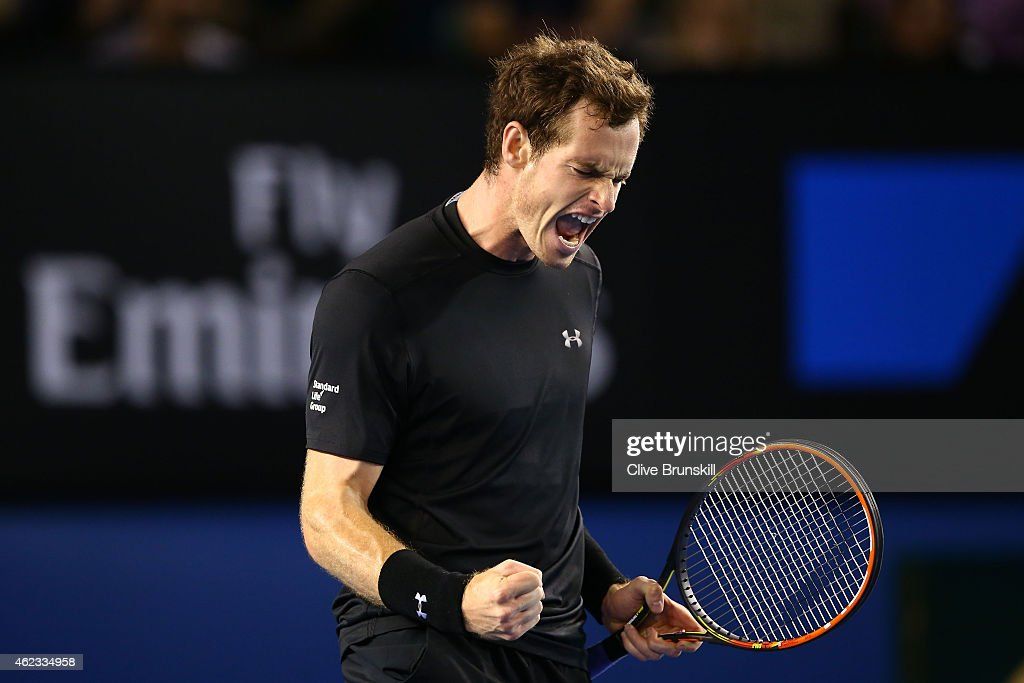 Andy Murray of Great Britain celebrates winning the second set in his quarterfinal match against Nick Kyrgios of Australia during day nine of the 2015 Australian Open at Melbourne Park on January 27, 2015 in Melbourne, Australia.