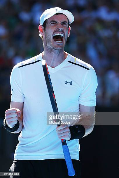 Andy Murray of Great Britain celebrates winning the second set in his fourth round match against Mischa Zverev of Germany on day seven of the 2017...
