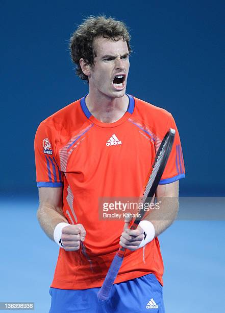 Andy Murray of Great Britain celebrates winning the tiebreaker to claim the second set against Gilles Muller of Luxembourg during day four of the...