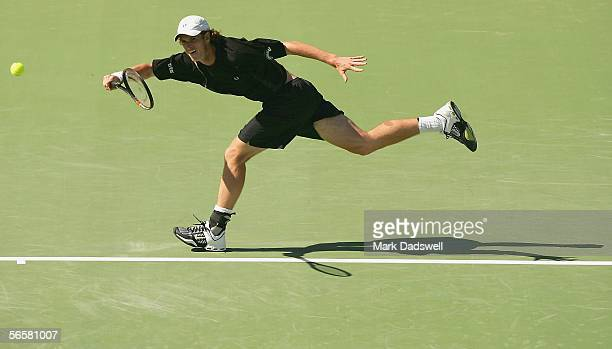 Andy Murray of Great Britain chases down the ball during his exhibition match with Peter Luczak of Australia during Day 3 of the 2006 AAMI Classic at...