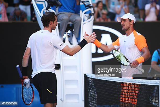 Andy Murray of Great Britain congratulates Mischa Zverev of Germany after their fourth round match on day seven of the 2017 Australian Open at...