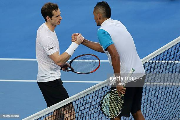 Andy Murray of Great Britain congratulates Nick Krygios of Australia Green on winning the men's single match during day four of the 2016 Hopman Cup...