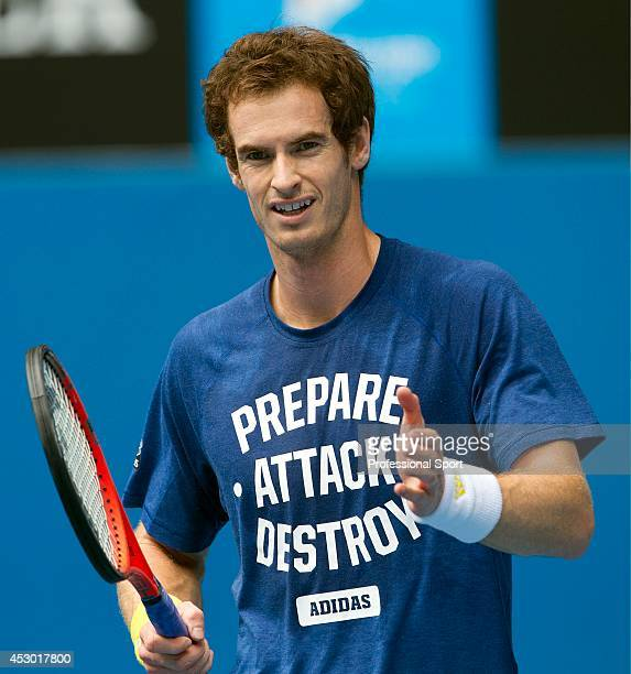 Andy Murray of Great Britain during a practice session on day nine of the 2013 Australian Open at Melbourne Park on January 22, 2013 in Melbourne,...