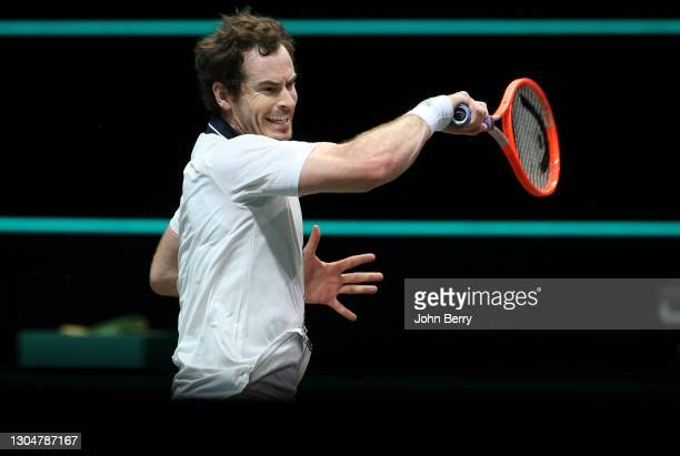 Andy Murray of Great Britain during his first round match against Robin Haase of Netherlands on day 1 of the 48th ABN AMRO World Tennis Tournament at...