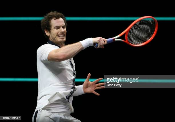 Andy Murray of Great Britain during his first round match victory against Robin Haase of Netherlands on day 1 of the 48th ABN AMRO World Tennis...