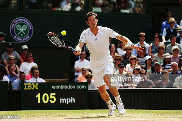 Andy Murray of Great Britain during his Gentlemen's Singles quarterfinal match against Grigor Dimitrov of Bulgaria on day nine of the Wimbledon Lawn...