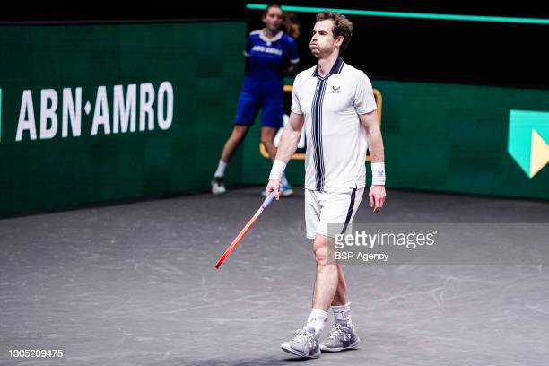 Andy Murray of Great Britain during his match against Andrey Rublev of Russia at the 48th ABN Amro Tennis World Tournament at Rotterdam Ahoy on March...