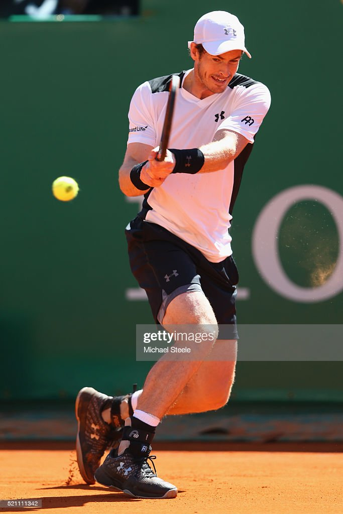 Andy Murray of Great Britain during his match against Benoit Paire of France during day five of the Monte Carlo Rolex Masters at Monte-Carlo Sporting Club on April 14, 2016 in Monte-Carlo, Monaco.