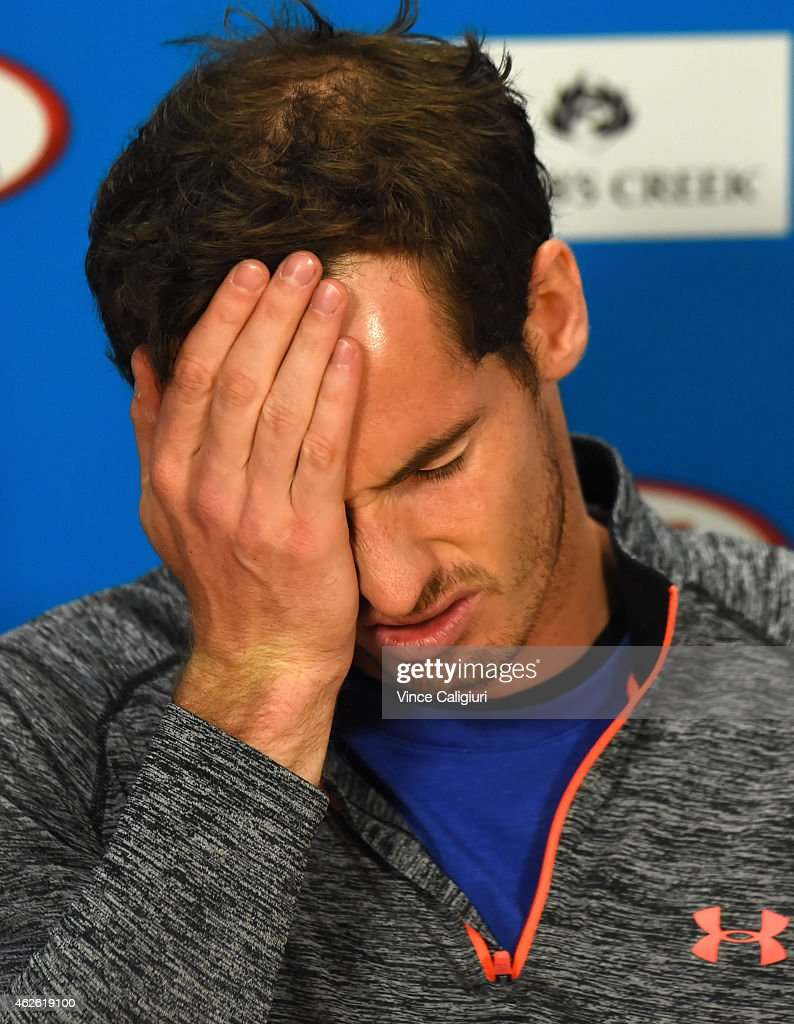 Andy Murray of Great Britain during his press conference after his loss to Novak Djokovic of Serbia during day 14 of the 2015 Australian Open at Melbourne Park on February 1, 2015 in Melbourne, Australia.