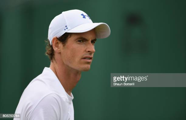 Andy Murray of Great Britain during practice at Wimbledon on July 1 2017 in London England