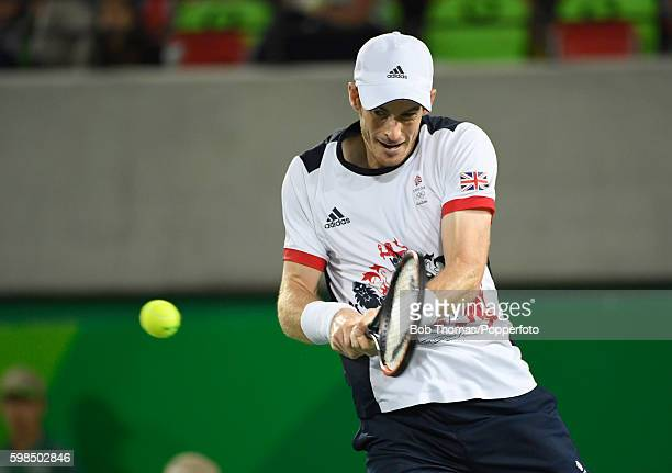 Andy Murray of Great Britain during the Men's Singles Gold Medal Match on Day 9 of the Rio 2016 Olympic Games at the Olympic Tennis Centre on August...